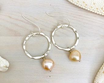 Pearl Hoop Earrings - Peach Pearl Earrings - Beach Hoop Earrings - Sterling Silver Hoop Earrings - Freshwater Pearl Earrings -Beach Earrings