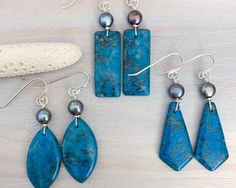 Blue Stone Statement Earrings - Crazy Lace Agate Earrings - Boho Stone Earrings - Large Blue Stone Earrings - Blue Bohemian Earrings