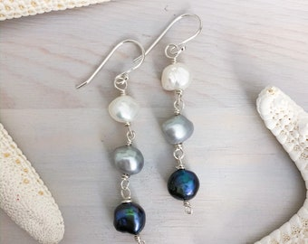 Ombre Pearl Earrings - Long Pearl Drop Earrings - Black and White Pearls - Keshi Pearl Earrings - Freshwater Pearl Earrings - Baroque Pearl