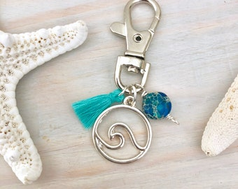 Beach Keychain - Wave Keychain - Beaded Tassel Key Chain - Ocean Keychain - Summer Keychain - Hawaii Keychain