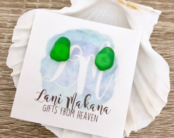 Sea Glass Stud Earrings - Green Sea Glass Earrings - Beach Glass Earrings - Genuine Sea Glass Jewelry - Green Sea Glass Jewelry