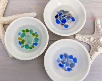 Sea Glass & Pottery Ring Bowl - Ocean Ring Dish - Beach Ring Tray - Trinket Dish - Sea Glass Home Decor - Resin Bowl
