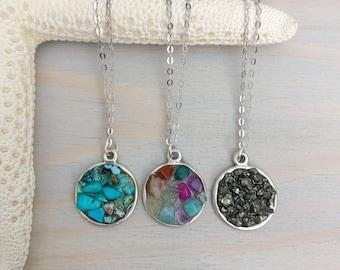 Raw Gemstone Necklace - Stone Circle Necklace - Raw Stone Necklace - Dainty Stone Necklace - Silver Stone Necklace - Gemstone Necklace