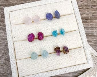 Raw Stone Stud Earrings - Raw Gemstone Earrings - Gemstone Stud Earrings - Amethyst, Rose Quartz, Apatite, Ruby, Aquamarine, Tanzanite Studs
