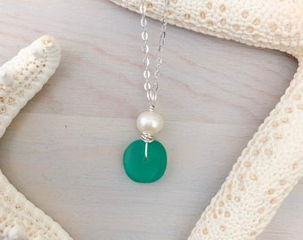 Sea Glass and Pearl Necklace - Beach Glass Necklace - Sea Glass Jewelry - Beach Lover Gift - Mermaid Jewelry - Mini Seaglass Necklace