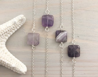 Amethyst Necklace - Dainty Stone Necklace - Minimal Necklace - Layering Necklace - Simple Stone Necklace - Purple Stone Jewelry - Sterling
