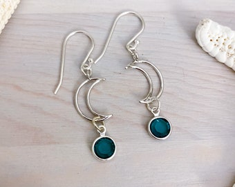Silver Crescent Birthstone Earrings - Silver Stone Earrings - Birthstone Jewelry - Crescent Moon Earrings