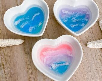 Beach Heart Dish - Resin Ocean Ring Bowl - Beach Jewelry Bowl - Beach Valentines Gift - Ocean Ring Dish - Trinket Dish - Beach Art