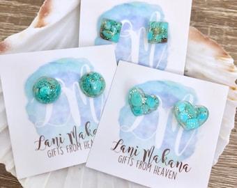 Resin Stud Earrings - Turquoise Stud Earrings - Raw Stone Earrings - Genuine Turquoise Jewelry - Real Turquoise - Gemstone Stud Earrings