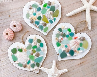Sea Glass Mosaic Heart - Seashell Decoration - Beach House - Heart Wall Hanging - Coastal Home Decor - Nautical Decor - Beach Gift