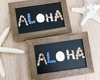 Aloha Sign - Seashell and Sea Glass Art - Beach Art - Beach House - Coastal Home Decor - Nautical Decor - Beach Gift
