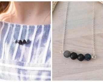 Lava Necklace - Oil Diffuser Necklace - Lava Stone Necklace - Aromatherapy Jewelry - Lava Stone Jewelry - Essential Oil Jewelry - Black Bar