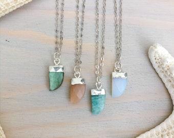 Dainty Stone Pendant - Stone Horn Necklace - Sterling Silver Necklace - Dainty Necklace - Tiny Stone Necklace - Tigernail Necklace