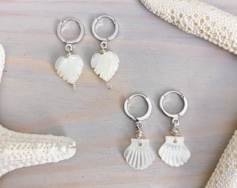 Mother of Pearl Huggie Earrings - Beach Mini Hoop Earrings - Silver Huggie Earrings - Shell Earrings