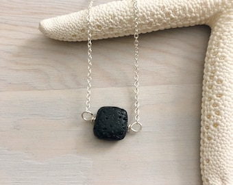 Lava Stone Pendant Necklace - Diffuser Necklace - Black Stone Necklace - Essential Oil Jewelry - Lava Bead Necklace - Aromatherapy Jewelry