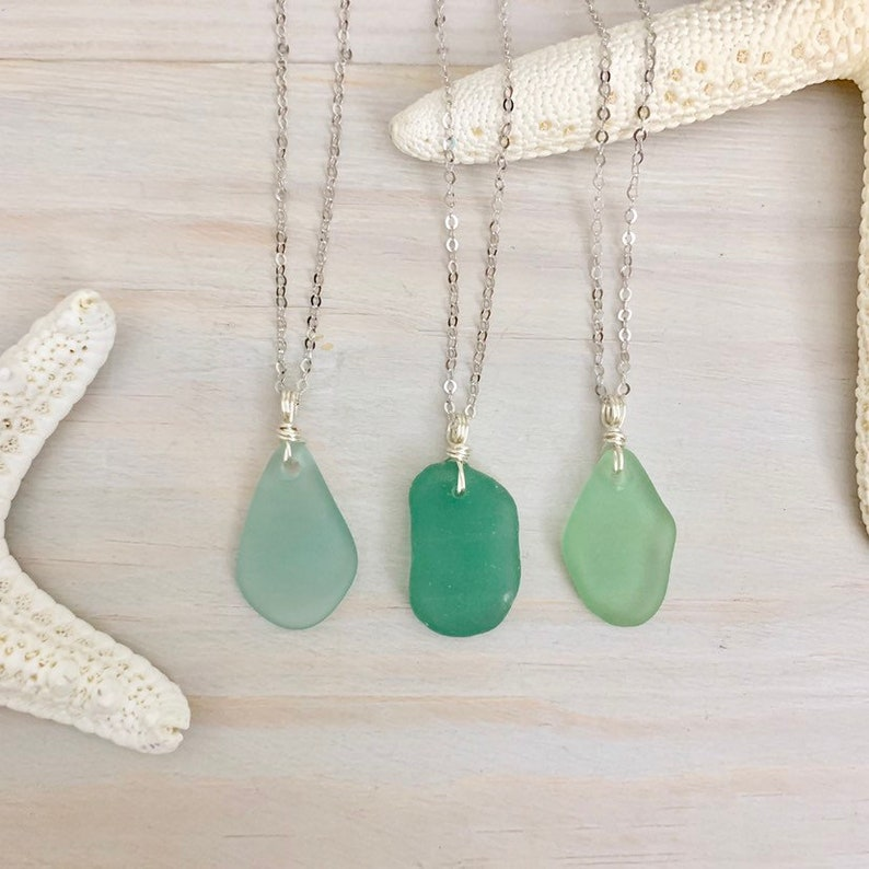 Sea Glass Necklace  Beach Glass Necklace  Sea Glass Jewelry image 0