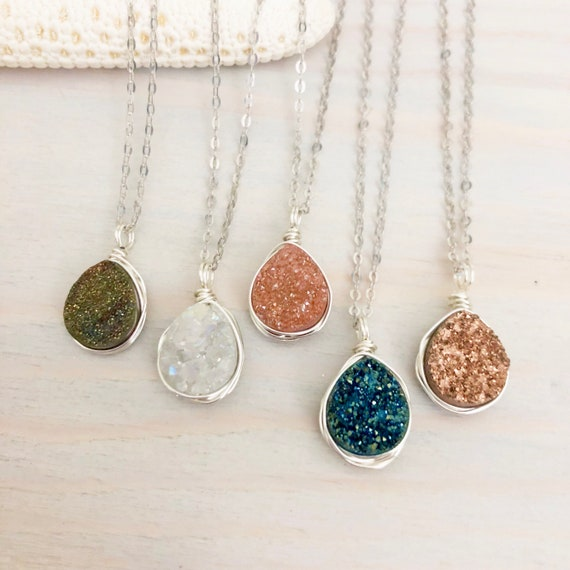 Boho Necklace Rough Gemstone Necklace Tiny Druzy Teardrop Necklace Natural Druzy Pendant Necklace Bridesmaid Gift for Sister Friend Mom