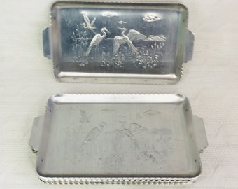 Vintage stainless steel trays with hors d/'oeuvre  forks Sets. U.S.A