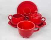 Red Fiesta Cream And Sugar Caddy With Matching Cup Saucer