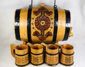 Russian Burned Wood Barrel Liqour Beer Cask With 4 Matching Cups And Stand