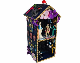 Day Of The Dead Hand Made Diorama House With Skeletons
