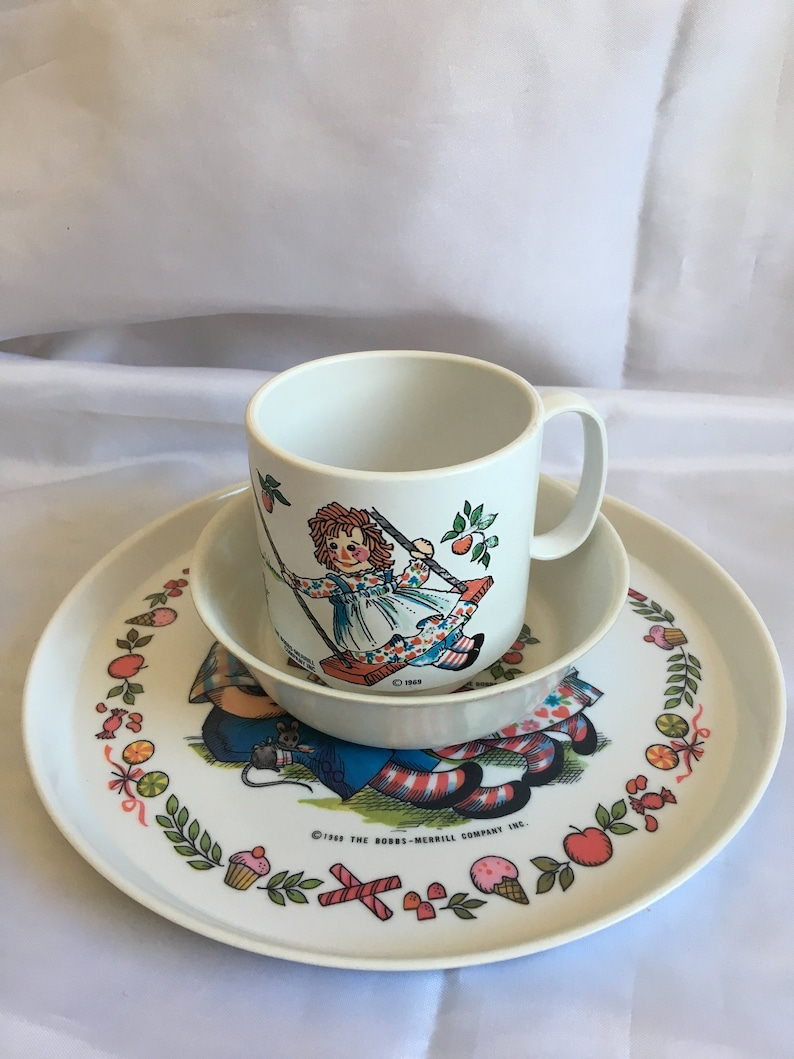 Vintage 1969 Raggedy Ann & Andy Plate, Bowl And Cup Matching Set-Oneida  Deluxe- Bobbs Merrill Company-A36