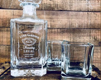 21st Birthday Gift Finally Legal Custom Engraved Glass Whiskey Decanter Twenty First For Him Personalized Liquor