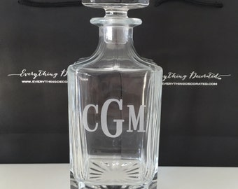 Valentines Gift For Him, Personalized Glass Whiskey Decanter, Valentines Day Gift Idea, Valentines Day for Him, Be My Valentine Gift for Men
