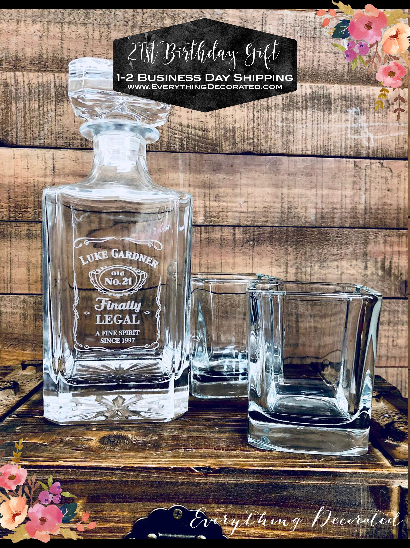 21st Birthday Gift Finally Legal Custom Engraved Glass