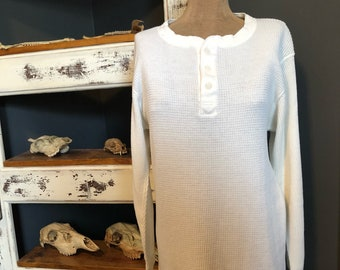 Vintage 1980's White Thermal Long Sleeve Henley / Waffle Knit S M L