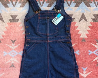 0c9ce5b23a Vintage 1970 s Shades Of Blue Denim Overall Shorts   Jumper NOS   XS S