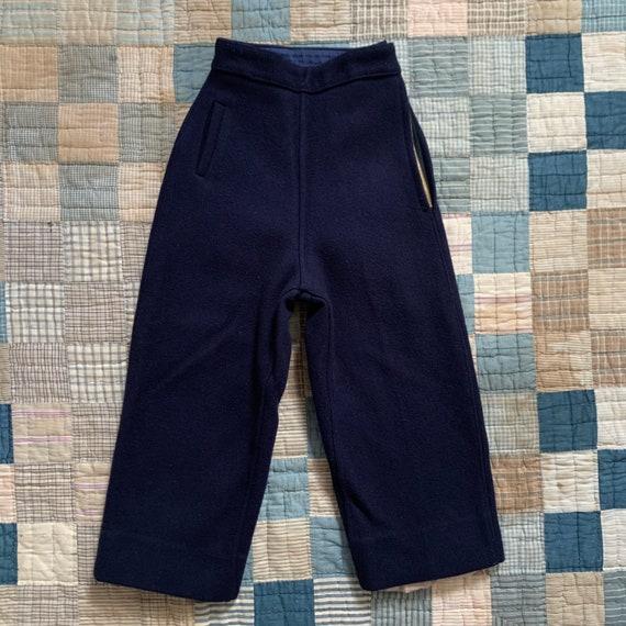 Vintage 1940's 50's Navy Blue Side Zip Cropped Woo