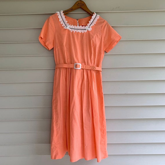 Vintage 1940's 50's Peach Coral Swiss Dot Belted M