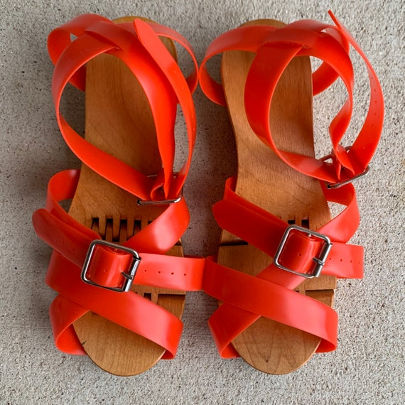 Vintage 1940s 50s Flexiclog Wooden Sandals Women's