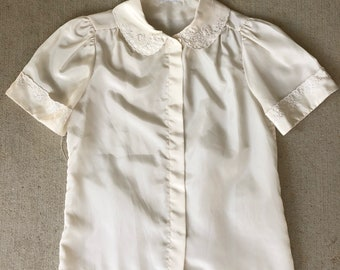 Vintage 1960's Silk Embroidered Peter Pan Collar Blouse / S M L