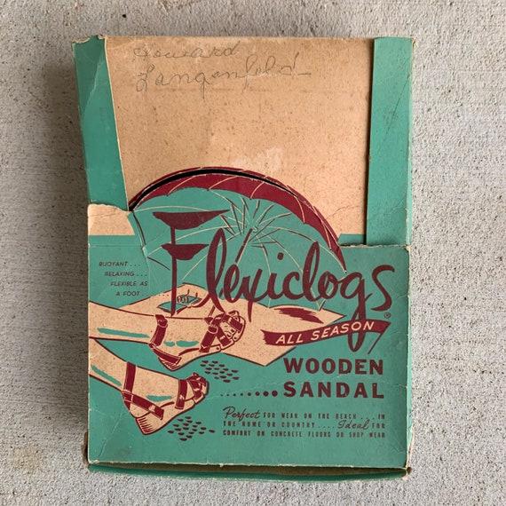 Vintage 1940s 50s Flexiclog Wooden Sandals Women'… - image 4