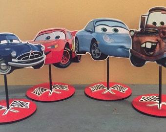 Cars Character Centerpiece,Mcqueen and Mator birthday centerpiece