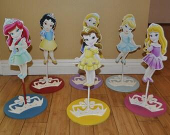 6 Disney Princess Centerpiece, Frozen Elsa, Toddler Princess, Ariel, Tangled, Snow white, Cinderella