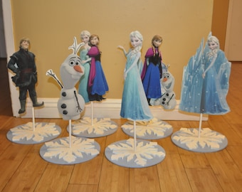 Frozen inspired Character Centerpiece on Snowflake Base, elsa anna olaf inspired party centerpiece