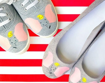 Dumbo, flying elephant, disney, handcrafted,  womens shoes, 30 dollar gift