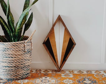 Carved Wood Diamond Sign