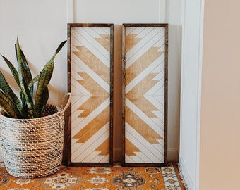 Natural//White Carved Wood Panel set