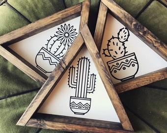 Cactus Trio - Wood Signs