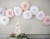 Blush paper flower, giant hand-dyed peony shades of dove grey, blush, ivory, champagne, Wedding Decoration paper flower backdrop UK