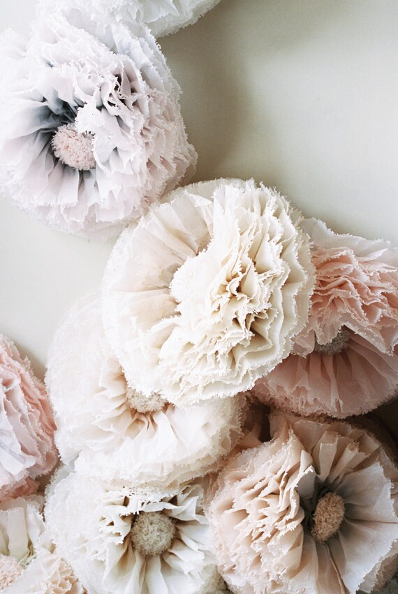 Champagne paper flower giant hand dyed peony pom in dove etsy image 0 mightylinksfo