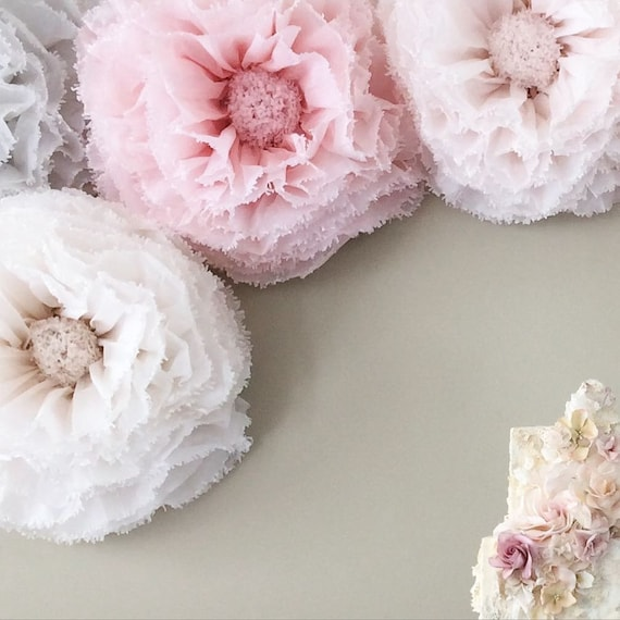 Blush paper flowers hand dyed giant paper flower backdrop etsy image 0 mightylinksfo