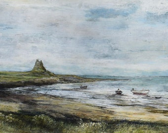Northumberland Lindisfarne Holy Island Giclée Signed Fine Art Marine Landscape Print Boats English Seascape in the Summertime