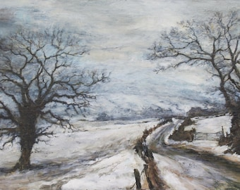 Signed Winter Snow Fine Art Print from Original English Oil Landscape Painting Oak Trees, British Woodland, North Yorkshire, Scarborough