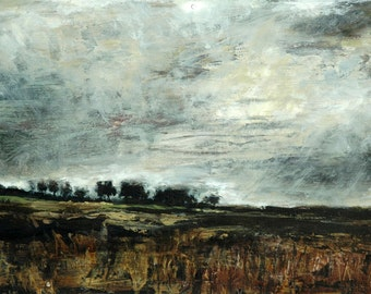 Harvest Moon Autumn/Fall Fields And Dark Skies, Art Wall Print from Original Oil Landscape Yorkshire Dales Atmospheric Nature Gift