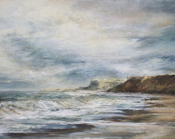 Whitby Coast Giclée Art Print from Original North Yorkshire Oil Seascape Painting of Sandsend, English landscape art